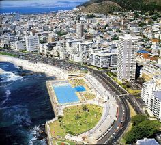 The Olympic swimming pool at Sea Point Pavilion from the air, Cape Town, South Africa, photograph by Etienne du Plessis. Visit South Africa, Cape Town South Africa, Old Pictures, Old Photos, City Aesthetic, Dream City, Most Beautiful Cities, Swimming Pools, Olympic Swimming