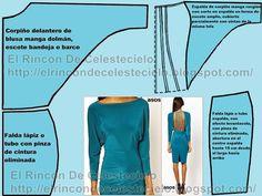 El Rincon De Celestecielo: Trazo de patrón manga dolmán con costura en el hombro