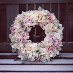 Shabby chic Hortensias,  Roses and Moss Wreath