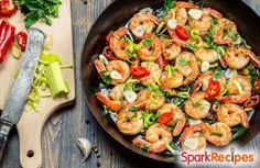 Garlic-Butter Shrimp Recipe: Ready in 10 minutes!   via @SparkPeople #seafood #fast #easy #dinner
