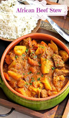 This African beef stew recipe is slow-cooked to develop an unbeatable flavour and meltingly tender texture. The combination of spices used in this hearty stew is what creates a unique taste setting this stew apart from most. Serve as is or with rice Beef Recipes, Soup Recipes, Cooking Recipes, Healthy Recipes, Recipes Using Stew Beef, Dessert Recipes, Cooking Games, Simple Recipes, Curry Recipes