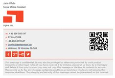Simple email signature with social media buttons and QR code Professional Email Signature, Social Media Buttons, Email Signatures, Email Design, Signature Design, Energy Drinks, Sample Resume, Messages, Templates