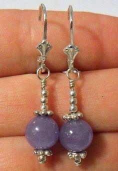 Sterling Silver Purple Agate Dangle Drop Earrings