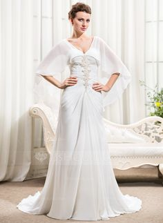 A-Line/Princess Sweetheart Court Train Chiffon Wedding Dress With Ruffle Beading Sequins (002056231) - JJsHouse