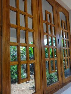 Window Frame Wooden design Wooden Window Design, Home Window Grill Design, Window Glass Design, Front Door Design Wood, Wooden Window Frames, Double Door Design, Wooden Shutters, Wooden Windows, Wood Design