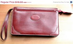 ON SALE Leather make up case vintage red by RedRhinoProductions, $12.00