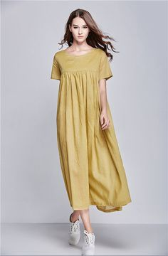 Yellow Beach Dress Summer Holiday Trip Maxi Linen by camelliatune