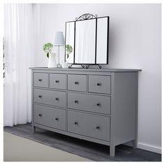 HEMNES dresser dark gray gray stained IKEA - Dresser - Ideas of Dresser Grey Bedroom Furniture, Bedroom Dressers, Ikea Furniture, Furniture Stores, Furniture Makeover, Furniture Movers, Furniture Ideas, Grey Bedroom Walls, Office Furniture