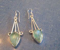 EARRINGS  - Ocean Green - TEARDROP - MOONSTONE - Dangle   -  Fish Hooks  - 925 -Sterling Silver  Earrings372 by MOONCHILD111 on Etsy