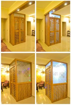 A beautiful Pooja space in a home with open layout. The boxed structure helps to keep the space confined and very much remains a part of the bigger space. Living Room Partition Design, Room Partition Designs, Living Room Tv Unit Designs, Partition Door, Pooja Room Door Design, Home Room Design, House Design, Living Room Kitchen Layout, Dining Room