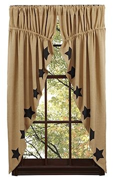 Our Burlap Natural Stencil Star Prairie Curtains will add to your primitive decor and bring a feeling of warmth to any room. http://www.primitivestarquiltshop.com/Burlap-Natural-Stencil-Star-Prairie-Curtains_p_6704.html