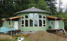 """One of the things we have constantly asked ourselves during the course of Tiny House is, """"How much do we really need? Do we think we need that because it seems like the smallest size we can r… Yurt Living, Tiny House Living, Round Building, Building A House, Building A Yurt, Luxury Yurt, Yurt Interior, Yurt Home, Quonset Hut Homes"""