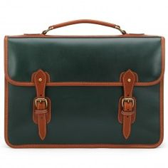 Harrold Wymington Briefcase with 2 Bellows in Green and Tan