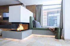 modern fireplace, room divider, M-design, 3 sides glass, glass: H: . Fireplace Shelves, Home Fireplace, Fireplace Design, Fireplace Modern, Fireplace Glass, Fireplace Outdoor, Fireplace Remodel, Modern Stoves, Model Homes