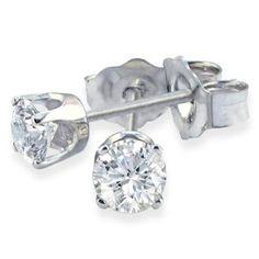 10k Or Blanc Diamant Horseshoe Lucky Screwback Stud Fashion Earrings 1//6 CTW