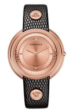 THEA BY VERSACE - SWISS QUARTZ MOVEMENT RONDA 762 39 MM – STAINLESS STEEL IPRG ROUND CASE GOLDEN DIAL WITH GRECA PATTERN BLACK CALF STRAP LIZARD PATTERN WITH BUTTERFLY BUCKLE WR 3 ATM