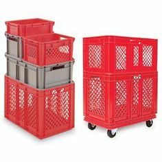 SCHAEFER Polyethylene Stacking Containers - Red by Schaefer. $46.30. SCHAEFER Polyethylene Stacking Containers help you manufacture, transport, and store—cost effectively!Open mesh sides allow high visibility and good air flow for refrigeration or drying. Made of high-density polyethylene for rigidity, strength, and durability. Lighter than solid-sided containers. All sizes can be interstacked as shown for more effective use of space. Convenient hand holds on all 4 sides—...
