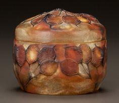 Art Glass:Other , ARGY-ROUSSEAU PATE-DE-VERRE GLASS MONNAIE DU PAPE BOX. Circa1900. Molded G. ARGY-ROUSSEAU, FRANCE. Ht. 3-1/...