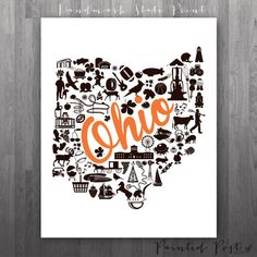 Bowling Green Ohio Landmark State Giclée Print  by PaintedPost, $15.00 #paintedpoststudio - Bowling Green State University - Falcons- What a great and memorable gift for graduation, sorority, hostess, and best friend gifts! Also perfect for dorm decor! :)