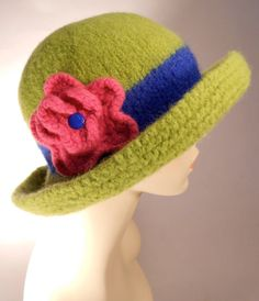 Lime Green Felted Hat with Brim by yoursbydesign on Etsy, $69.00