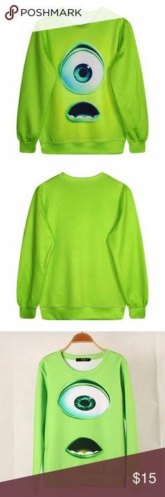 Mike wazowski 3D green pull over sweater Monsters university Mike wazowski! Size: M BUT fits like an XS/S  never worn. Tops Sweatshirts & Hoodies