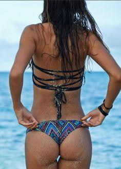 L*Space // Antigua Black Reversible Low Down Bikini Bottom