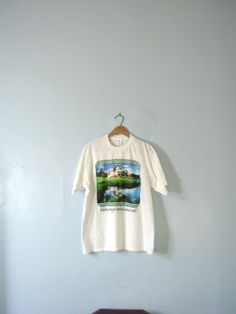 Vintage 80's white shirt Horse shirt Running strong by manorborn