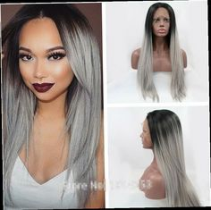 41.85$  Watch now - http://alio0r.worldwells.pw/go.php?t=32491555128 - high quality grey ombre silky straight wigs with dark roots synthetic lace front wig heat resistant fiber in stock free shipping 41.85$