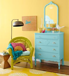 Who wouldn't feel happy with these cheerful colours- Tips on how to bring colour into your room by painting old furniture -More About What We Did