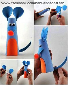 Mouse - 60 Homemade Animal Themed Toilet Paper Roll Crafts, http://hative.com/homemade-animal-toilet-paper-roll-crafts/,