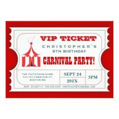 サーカスのカーニバルの誕生会の切符の招待 カスタム招待状