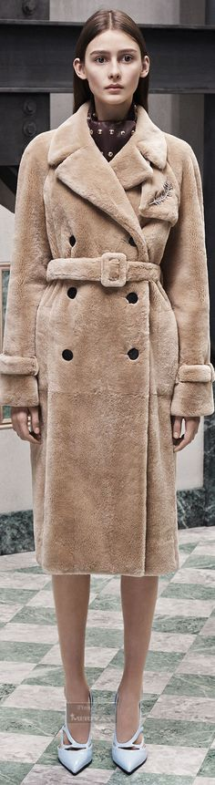 Sheared beaver fur trench coat