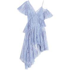 Zimmermann Seer Pentacle Lace Dress ($2,600) ❤ liked on Polyvore featuring dresses, short dress, blue dress, blue slip dress, lace slip dresses, scalloped lace dress and short blue dress