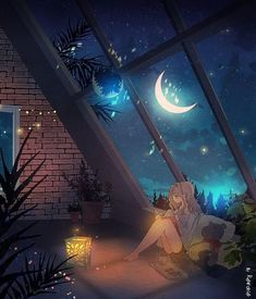 Art drawing - A Special Place - night sky window view - cozy loft - moon beams - night owl Animes Wallpapers, Cute Wallpapers, Fantasy Landscape, Fantasy Art, Landscape Photos, Landscape Photography, Anime Scenery Wallpaper, Art Asiatique, Moon Art