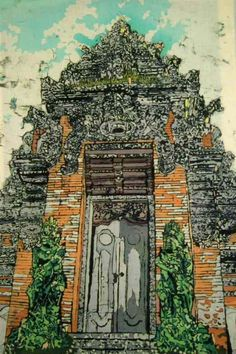 """Bali Temple: This is an batik painting that I found recently. I did it in Bali in 1991 when I was living there and working for the English rave company """"Loud"""". It is the doorway of a Balinese Hindu Temple, Bali being an Indonesian island where the Hindu religion, in a modified form, manages to flourish. It isn't very typical of my work but I'm including it on my site because I like the intense detail of the stone carving on this facade and the two copper figures, animal gods, which stand at…"""