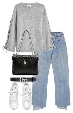 """Untitled #4283"" by theeuropeancloset on Polyvore featuring See by Chloé, Yves Saint Laurent and Gucci"