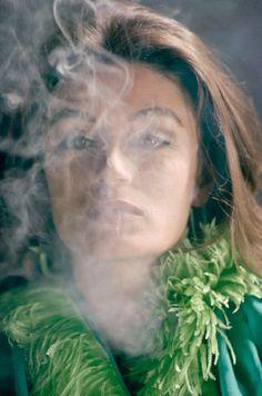 """smokeonsunsetblvd-blog: """" Anouk Aimée smoking exhale """""""