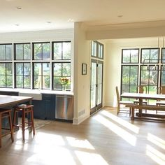 Not a bad seat in the house today if you're looking for some mid-morning sun. American Farmhouse, White Farmhouse, Scandinavian Interior Design, Casement Windows, Autumn Home, Building A House, Kitchen Design, Sweet Home, New Homes