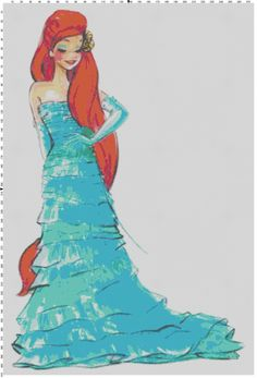 Large Size Disney Designer Princess Doll Ariel (The Little Mermaid) Cross Stitch Pattern PDF (Pattern Only)