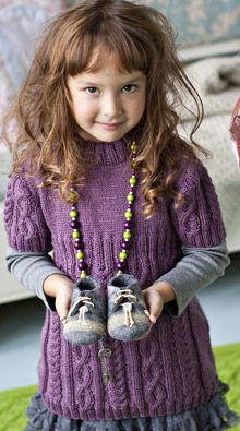 Pulmunen-palmikkotunika - Katso ohje: Kotiliesi.fi - Knit tunic for a little girl