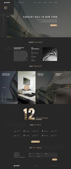 Architecture PSD Template go.arch is a luxury, elegant and trendy PSD template designed in two color styles: black & white. You can be use it for a lot of websites, like architecture buerau, interior design and and other corporate or creative websites. Website Design Inspiration, Best Website Design, Site Web Design, Website Design Layout, Page Design, Layout Design, Website Designs, Design Blog, Layout Site