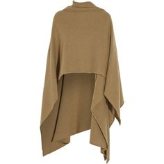 Madeleine Thompson Cashmere wrap (€505) ❤ liked on Polyvore featuring outerwear, tops, jackets, capes, cardigans, brown, brown cape, cashmere cape, wrap cape coat and wrap cape