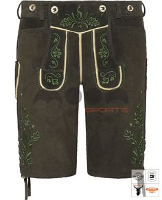 Ludwig Lederhose Kurz Braun Art. #MnS-60-0092912 Length: Short Material: Deer skin Buttons: Deer horn  DESCRIPTION Ludwig Lederhose Kurz for men by Moon Sports in light brown. The sturdy and soft tanned deer leather is embellished with numerous relief embroidery, which are emphasized by the contrast stitching and traditional costumes. Horn buttons on bib and waistband, a variable leather lacing on waist and thighs and two front, and a traditional knife pocket on the side complete....(cont'd) Ludwig, Deer Skin, Leather And Lace, Bermuda Shorts, Thighs, Overalls, Contrast, Lederhosen, Costumes