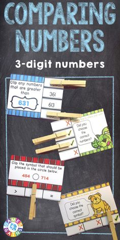 Comparing Numbers 'Clip and Flip' cards contains 72 self-correcting cards to help students practice comparing 3-digit numbers. These comparing numbers cards are aligned to Common Core standard 2.NBT.A.4. https://www.teacherspayteachers.com/Product/Comparing-Numbers-2004397