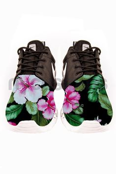 Nike Roshe Run Black Marble Hawaiian Hibiscus Floral Print Custom on Etsy, $175.00