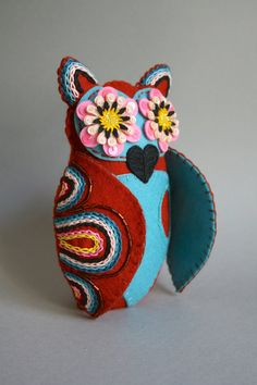 Embroidered Owl - Mexican Folk Art - Owl Doll- Soft Sculpture Owl- Pink, Brown, Blue