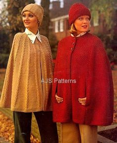 PDF Knitting Pattern - Ladies Retro Cape in Chunky wool. via Etsy. Knitted Cape, Knitted Shawls, Crochet Scarves, Knit Or Crochet, Knitting Yarn, Hand Knitting, Knitting Needles, Shawl Patterns, Knitting Patterns