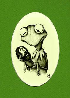 So sweet and soooo sad! Kermit holding Jim Henson. :(