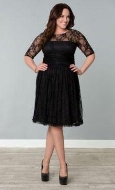 Plus size dress lace sleeves black – Woman dresses line