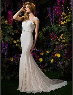 Trumpet/Mermaid Scoop Georgette And Lace Chapel Train Wedding Dress